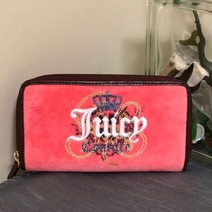Juicy Couture Hot Pink & Black Fuzzy Wallet